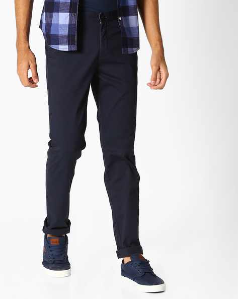 Mid-Rise Flat-Front Chinos By British Club ( Blue )