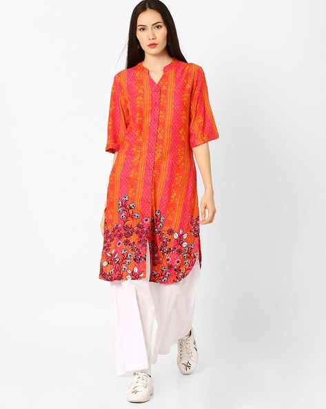 Printed Tunic With Curved Hem By Global Desi ( Pink )