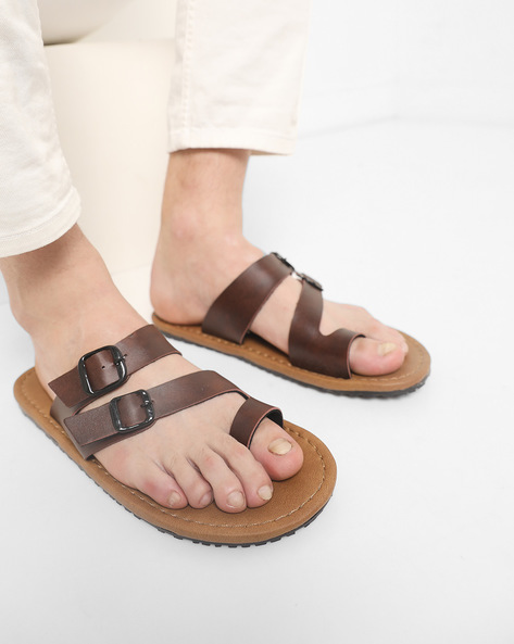 Strappy Toe-Ring Slippers By Funk ( Darkbrown )