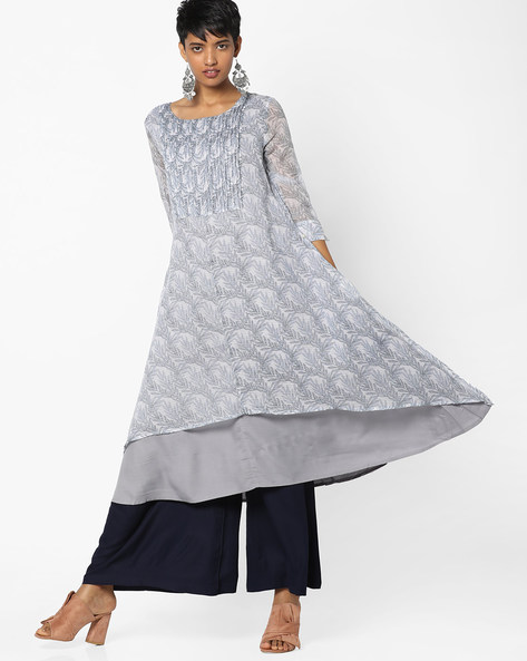 Printed Layered Flared Kurta By PE IW Casual ( Grey )