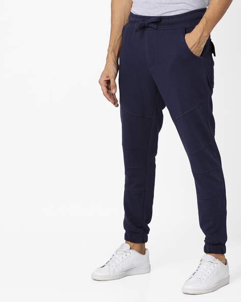 Panelled Joggers With Elasticated Waistband By AJIO ( Blue )