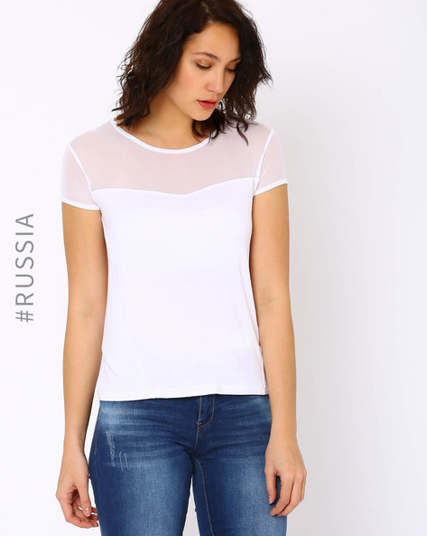 T-shirt With Sheer Yoke By Kira Plastinina ( White )