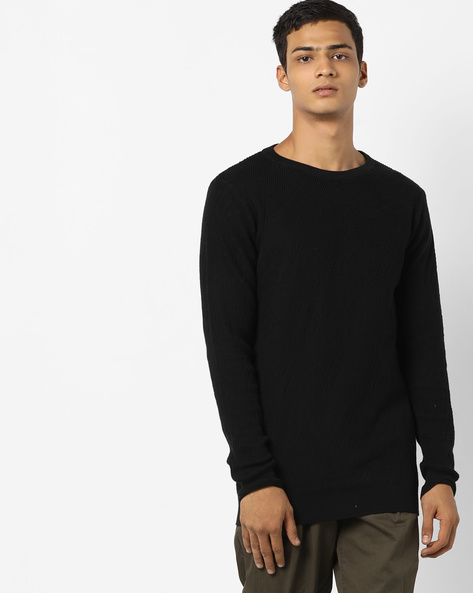 Crew-Neck Pullover With Full Sleeves By Jack & Jones ( Black )