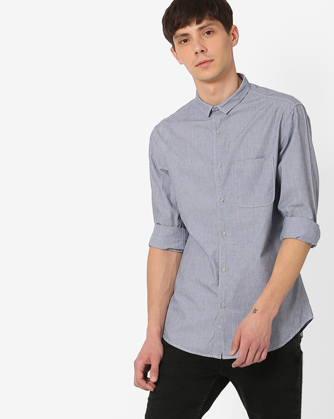 Slim Fit Shirt With Patch Pocket By AJIO ( Blue )