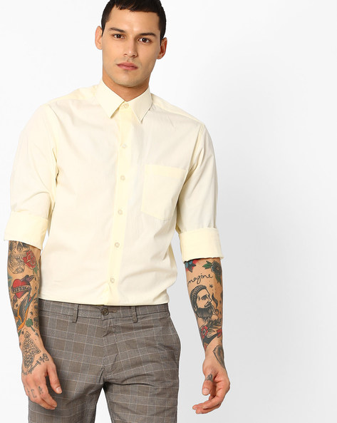 Classic Shirt With Patch Pocket By JOHN PLAYERS ( Yellow )
