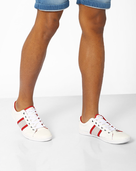 Panelled Sneakers With Contrast Toecap By AJIO ( White )