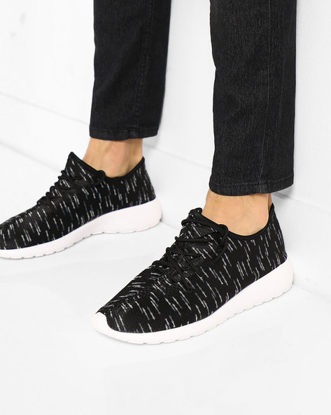 Printed Woven Lace-Up Casual Shoes By AJIO ( Black )