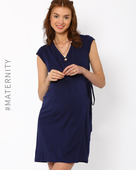 Adjustable Pre & Post-Natal Dress By AJIO ( Navyblue )