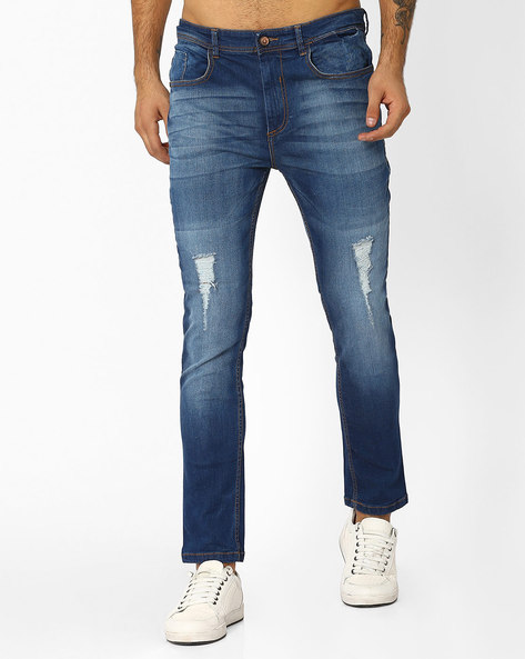 Lightly Washed Slim Fit Denims By ADAMO LONDON ( Lightblue )