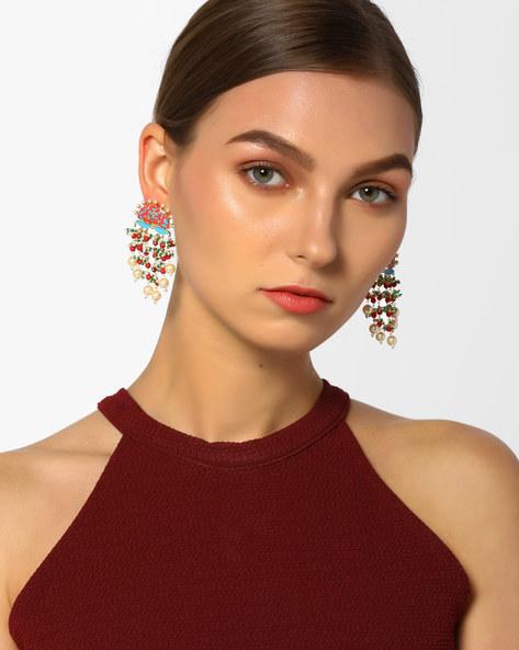 Meenakari Drop-Earrings With Pearls & Beads By Tvayaa Art ( Multi )