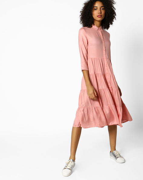 Tiered Fit And Flare Shirt Dress By Femella ( Pink )