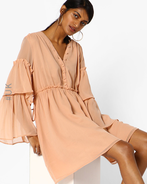 Ruffled V-Neck Dress With Bell Sleeves By NEON ROSE ( Nude )