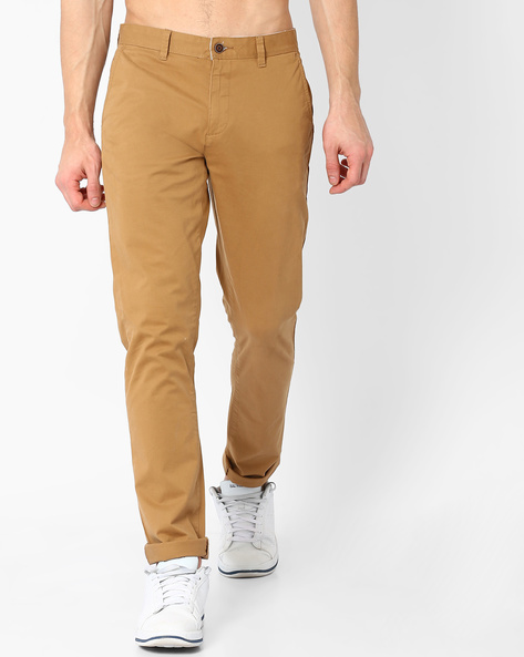 Mid-Rise Slim Fit Stretch Chinos By AJIO ( Khaki )