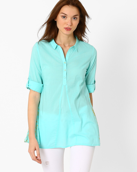 Tunic With Contrast Print Panels By AJIO ( Teal )