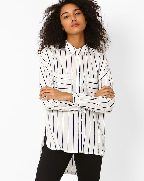 Striped High-Low Shirt By Oxolloxo ( Offwhite )