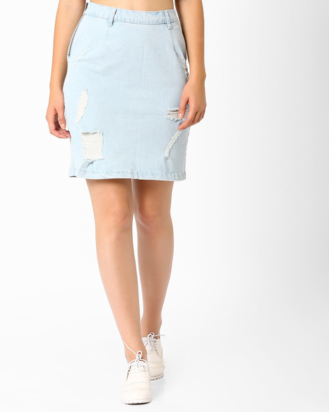 Distressed Denim Skirt By AJIO ( Lightblue )