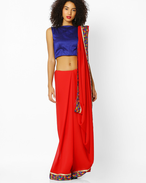 Printed Georgette Saree With Blouse By Florence ( Red )