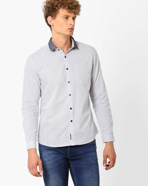 Printed Shirt With Chest Pocket By NETPLAY ( White )