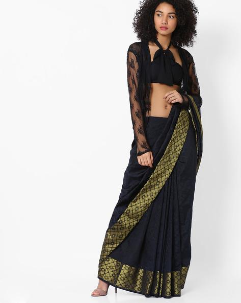 Handloom Saree With Contrast Border By Pihu ( Black )