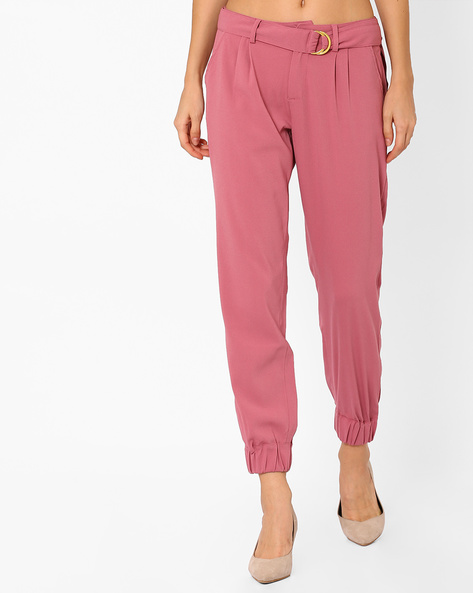 Cuffed Trousers With Fabric Belt By AJIO ( Rose )