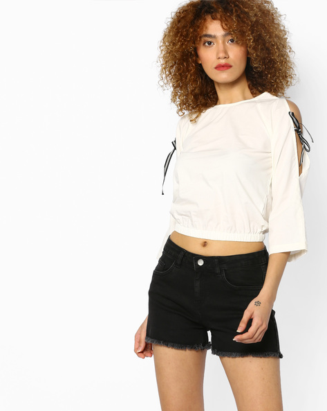 Blouson Top With Sleeve Tie-Ups By AJIO ( White )