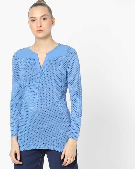 Polka-Dot Print Top With Notched Neckline By WRANGLER ( Blue )