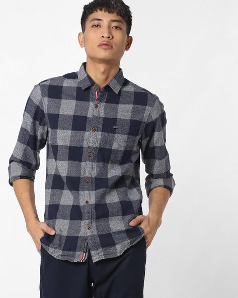 Slim Fit Checked Shirt With Patch Pocket By The Indian Garage Co ( Navy ) - 460191603004