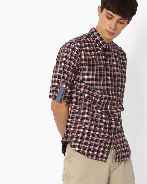 Gingham Shirt With Roll-Up Sleeves By LEVIS ( Blue )