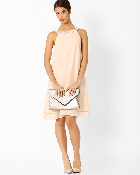 Layered Swing Dress With Embellishments By AJIO ( Cream )