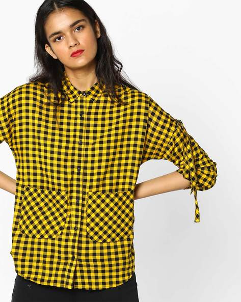 Gingham Check Shirt With Patch Pockets By RIO ( Yellow )