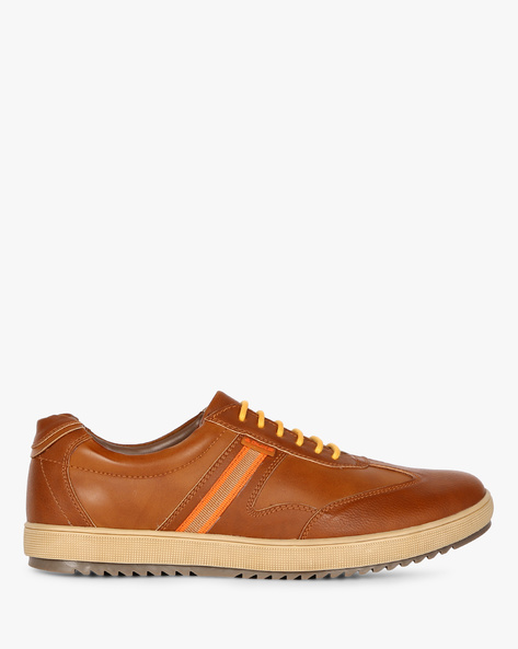 Panelled Lace-Up Casual Shoes By DUKE ( Tan )