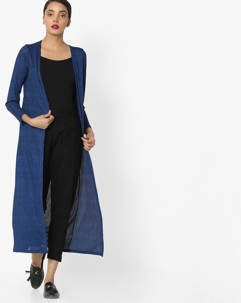 Open-Front Longline Shrug By Akkriti By Pantaloons ( Blue )