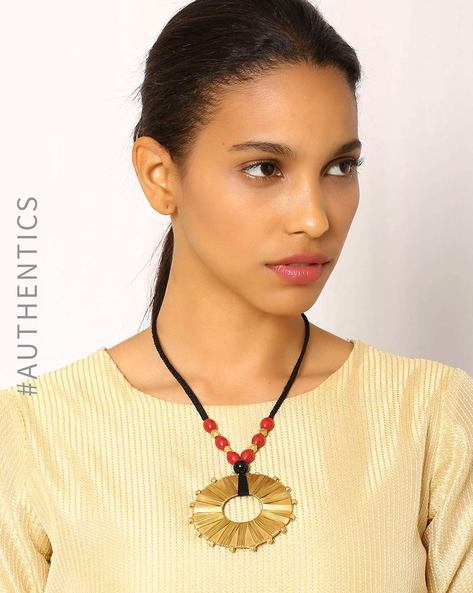Handcrafted Dhokra Brass Necklace By Indie Picks ( Multi ) - 460016927001