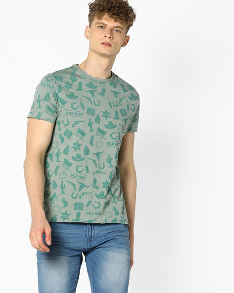 All-Over Print Crew-Neck T-shirt By AJIO ( Green )