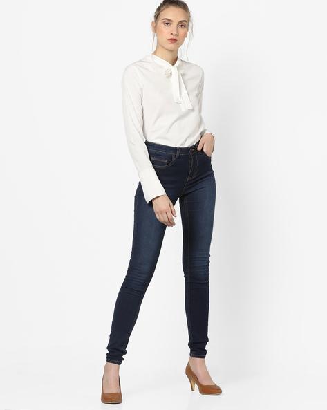 Slim Jeans With 5-Pocket Styling By Vero Moda ( Fuschiablue )