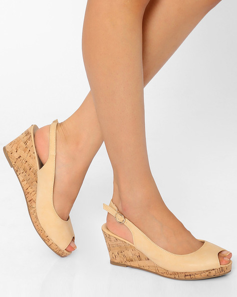 Peep-Toe Wedges By Tresmode ( Beige )
