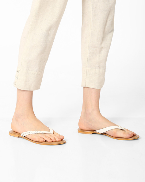 Thong-Style Flats With Braided Design By AJIO ( White )