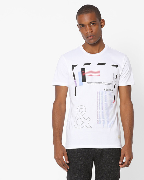 Printed Crew-Neck T-shirt By UNITED COLORS OF BENETTON ( Assorted )