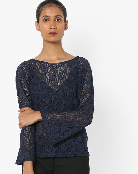 Floral Print Lace Top With Bell Sleeves By Only ( Darkblue )