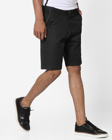 Mid-Rise Slim Fit Shorts By AJIO ( Navy )