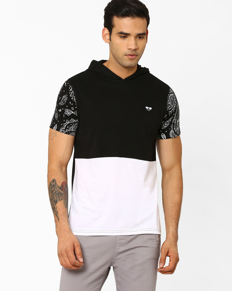 Colourblock T-shirt With Hood By Garcon ( Black )