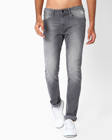 Lightly Washed Slim Fit Jeans By Pepe Jeans ( Grey ) - 460059694002