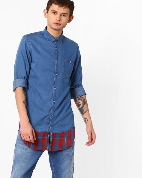 Panelled Poplin Longline Shirt By ADAMO LONDON ( Multi )