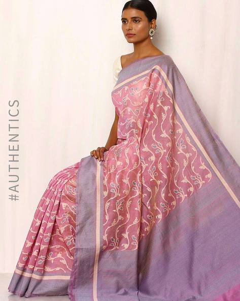 Banarasi Pure Silk Katan Cotton Cutwork Saree By Indie Picks ( Purple ) - 460043936001