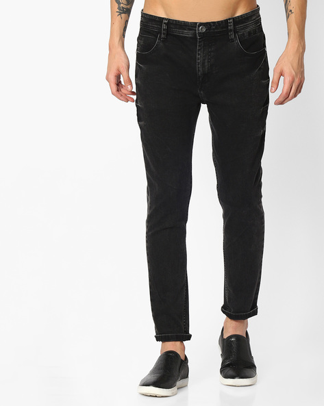Mid-Rise Skinny Fit Denims By ADAMO LONDON ( Black )