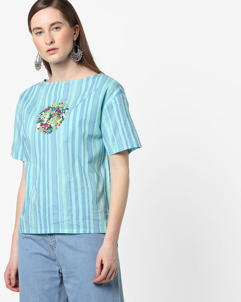Striped Boat-Neck Top With Floral Embroidery By AJIO ( Blue )