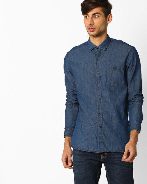 Regular Fit Cotton Shirt By NETPLAY ( Darkblue )