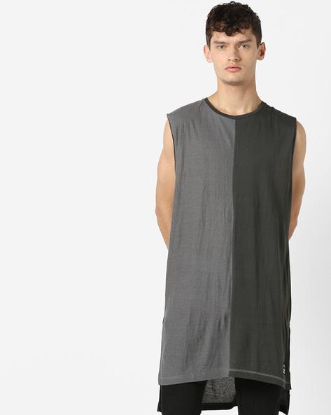 Longline Printed T-shirt With High-Low Hem By KULTPRIT ( Grey )