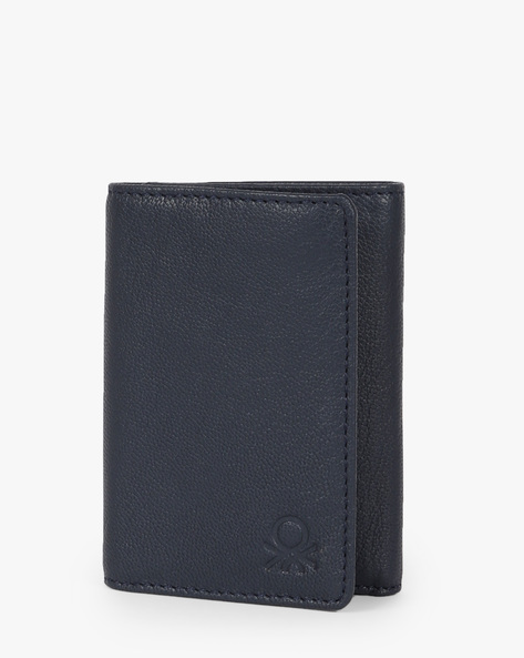 Genuine Leather Tri-Fold Wallet By UNITED COLORS OF BENETTON ( Grey )