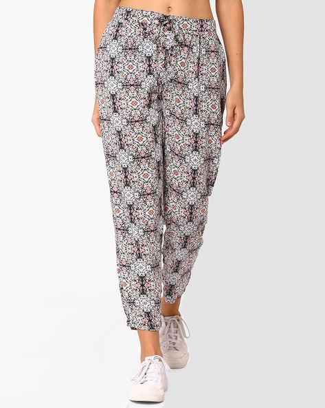 Printed Trousers With Drawstring Waist By AJIO ( Brown )